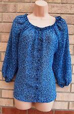 G21 BLUE FLORAL BAGGY GYPSY OVERSIZED CAMI BLOUSE  TOP T SHIRT TUNIC 14 L