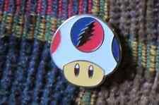 Dead Head White Glow in the Dark Video Gamer Magic Mushroom Enamel Lapel Hat Pin