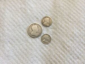 1910 Canada sterling silver 5c,10c,25c coins-King Edward VII #617