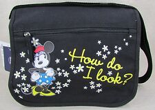 Disney Minnie Mouse Small Canvas Flap Shoulder Bag Handbag Black New Nwt
