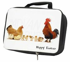 Hen, Chicks, Happy Easter Black Insulated School Lunch Box Bag, AB-107EALBB