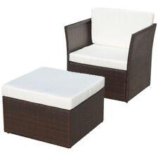 vidaXL Garden Chair with Stool Poly Rattan Black