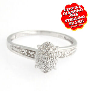 14K White Gold Over Silver White Real Diamond Cluster Accents Wedding Ring