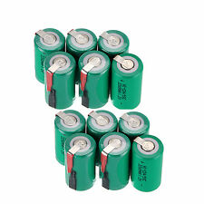 12pcs 4/5 Sub C SC 1.2V 2200mAh Ni-Cd NiCd Rechargeable Batteries With Tap,Green