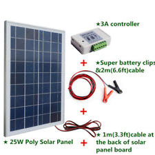 25W Solar Panel 12V battery charge +3A controller +battery clip & 2m cable Home