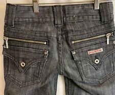 Hudson Fine Tailored Flare Leg Jeans Black Wash Denim Women's Size 24 DBL Button