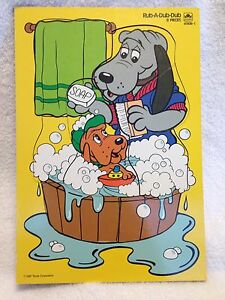 Pound Puppies Wood Puzzle Rub A Dub Dub by Golden 1987 Tonka Corp