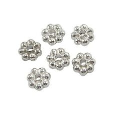 Packet 100+ Silver Tibetan 5mm Flower Spacer Beads HA15915