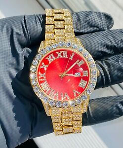 Mens Custom Fully Ice out Bling Red Dial Iced Round Icy Watch Iced Cz 14k GoldP