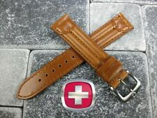 20mm SWISS ARMY MILITARY Leather Golden Brown Strap Watch Band 20mm