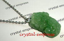 Feng Shui - 2015 Green Jade Pi Yao Stainless Steel Necklace