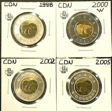 1998 2000W 2002 2005 Canada $2 Dollars Lot of 4 from Sets #5452