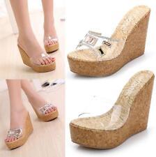 UK Women Platform Slippers Sandals Clear Diamond High Wedge Heels Mules Shoes Sz