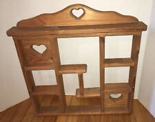 Country Farm House Wood Hanging Wall Curio Display Shelf 3 Cut Out Hearts