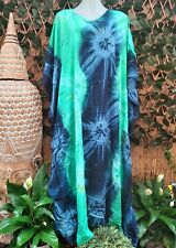 Plus Size Long Tie Dye Blue & Green Maxi Kaftan -Dress Size 18-20-22-24-26