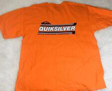 Quicksilver Tshirt Mens XL Orange Large Logo Spell Out  Surf Skate Beach