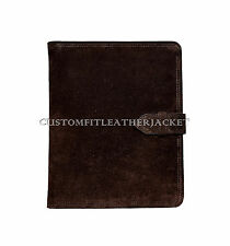 iPad NEW 2 3 4  BROWN SUEDE STYLE LUXURY REAL GENUINE LEATHER COVER CASE STAND