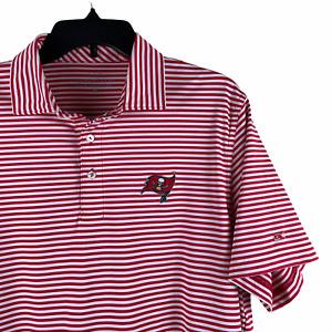 Buccaneers Polo Vineyard Vines Medium Red Striped Flag Logo NFL Team Super Bowl