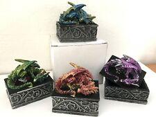 Drachenschatulle in 4 Farben Drachenbox  Drache auf  Box Drachenkästchen neu