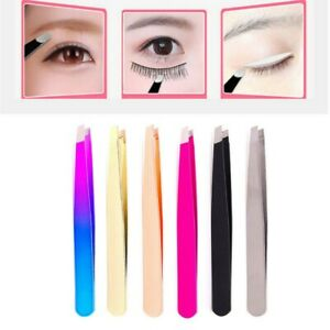 Eyebrow Tweezers Hair Beauty Slanted Stainless Steel Tweezer Plucker Tip Clip