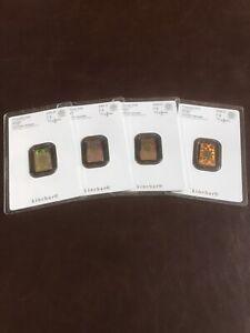 4 x Argor Heraeus 2g Pure Gold 24ct Kinebar in Custom Metal Assay Card Holder