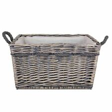 Large Delux Rectangular Lined Log Basket Antique Wash Finish Full Cane Willow