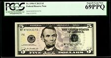 $5 2013 Federal Reserve Note Fr. 1996-F PCGS Superb Gem New 69 PPQ