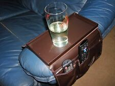Sofa Armchair Organiser With Tray Faux Leather Remote Control Cup Mug Glasses