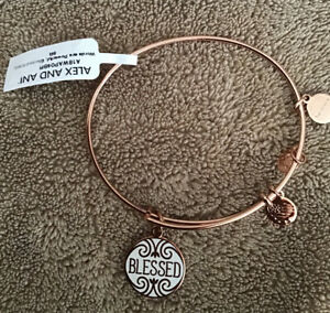 Alex and Ani BLESSED Bangle Charm Bracelet, Shiny Rose Gold New With Tags