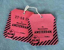 KLM  to Amsterdam  2 x  Vintage Baggage ID-tag