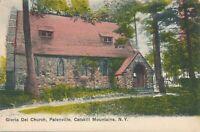 PALENVILLE NY - Gloria Dei Church - Hand Colored Postcard - Catskill Mountains