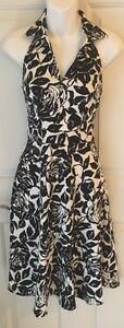 White House Black Market Size 0 Women's Dress Floral Halter Sleeveless