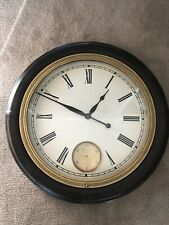 Large Heritage Brown Leather And Gold Wall Clock Uttermost
