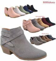 Soda Women Causal Low Heel Almond Toe Zipper Ankle Booties Shoes Size 5.5-11 NEW