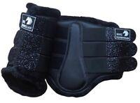 BLACK GLITTER BRUSHING BOOTS DRESSAGE PROTECTION TENDON EVENT FLEECE/FLUFF S-XL