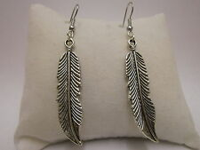 Feather Earrings or Necklace 925 Sterling Silver Wires - Clip On