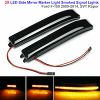 2X LED Smoked Side Marker Light Turn Signal Lamp Mirror Lens For Ford F150 09-14
