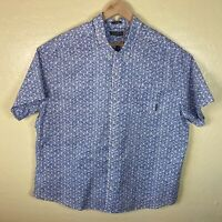 Eddie Bauer Classic Fit Button Up Shirt Mens 3XL White Blue Short Sleeve