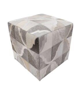 "Hot Item ! Geometric Hide Pouf Braxton, Grey (18""x18""x18"") Vanity Stool Handmade"