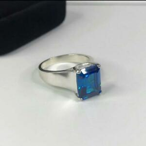 925Sterling Silver SkyBlue Topaz Gemstone Unisex Solitaire Statement PromiseRing