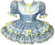 """""""Shayla"""" CUSTOM FIT Blue SATIN Flowers Yellow Bows Adult Baby Sissy Dress LEANNE"""
