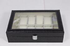 8 Slot Pillow Black Leather Watch Case Box Jewelry Cufflinks Ring Organizer