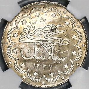 1911 NGC AU58  Salonika Mint Visit Ottoman Turkey 10 Kurush 1.5K Coin (19010301C