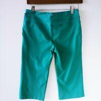 Prana Womens Sz M Green Cropped Stretch Pants Capri Yoga Leggings Workout