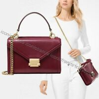NWT 🌹 Michael Kors Whitney Small Top Handle Leather Messenger Oxblood Dark Red