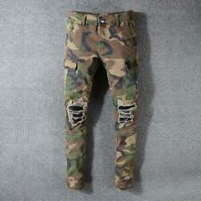 Mens Skinny Camouflage Ripped Jeans Style Casual Stretch Frayed Biker Slim Pants