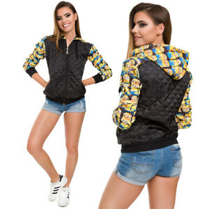 Womens Solid Quilted Jacket Minions Print with Hood Big Pockets and Zipper FZ133