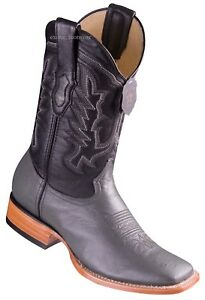 """Men's Los Altos Genuine Smooth Ostrich Western Boots Wide Square Toe 11"""" Shaft"""