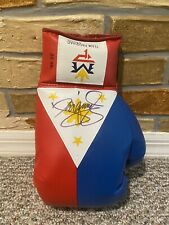 MANNY PACQUIAO SIGNED AUTO PHILIPPINE FLAG R BOXING GLOVE PSA Mayweather PROOF