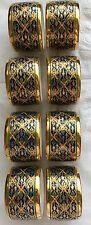 Royal Bone China Porcelain Gold Rimmed Napkin Rings Set of 8
